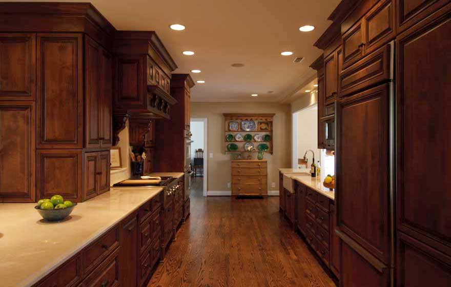 Transform a traditional galley kitchen by incorporating unique details and plenty of drawer storage space.