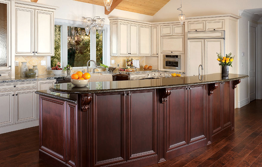 """The Wilmington 7/8"""" (541) Door is used with two different finishes to offset the island from the wall cabinets, creating a truly beautiful space."""