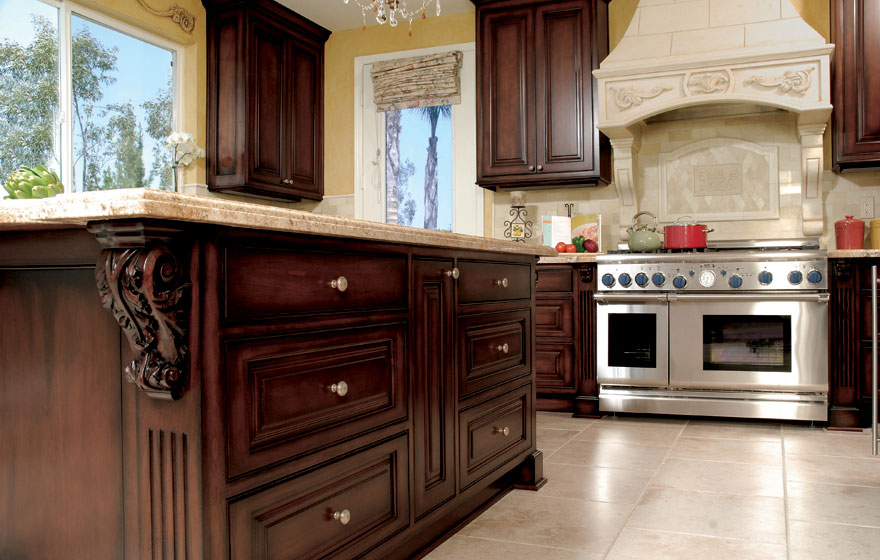 "Dark stained cabinetry and a beautifully crafted Tuscany 3/4"" (590) Doors work together to bring warmth and beauty."