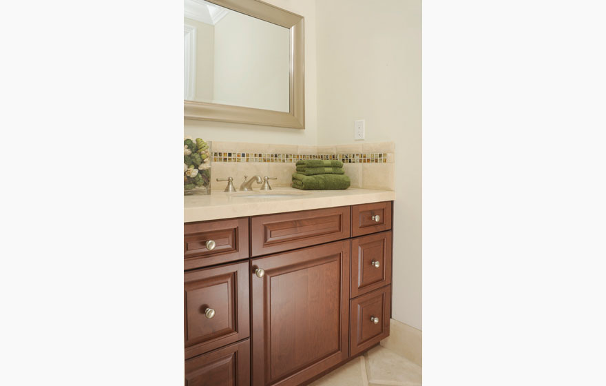 "The Heritage 3/4"" (805) Door with IE2 and OE7 modifications featuring Hot Cocoa WBF adds elegance to this bathroom."