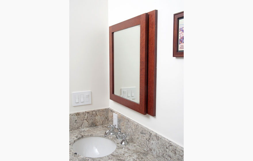 "Craftsman style bathroom with Shaker 3/4"" (831) Doors in Quarter Sawn Red Oak with a stately 3"" frame."