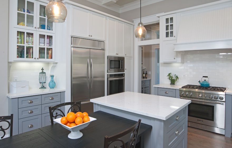 """Perfectly paired white and grey paint bring stunning elegance to this Durango 3/4"""" (834) kitchen."""