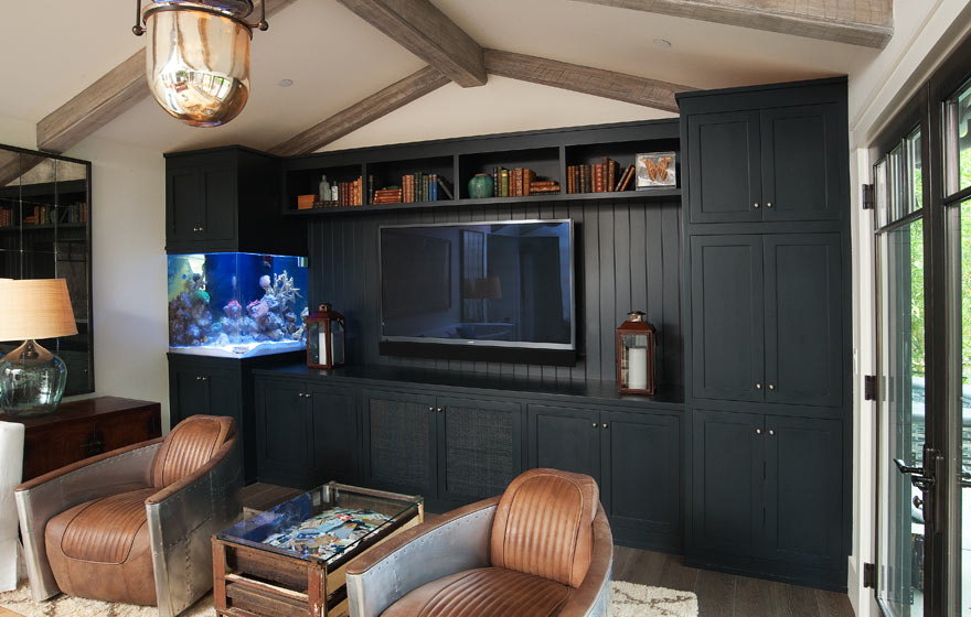 "Pairing the Durango 3/4"" (834) Door with a dark, dramatic paint color provides a stunning space for an entertainment area."