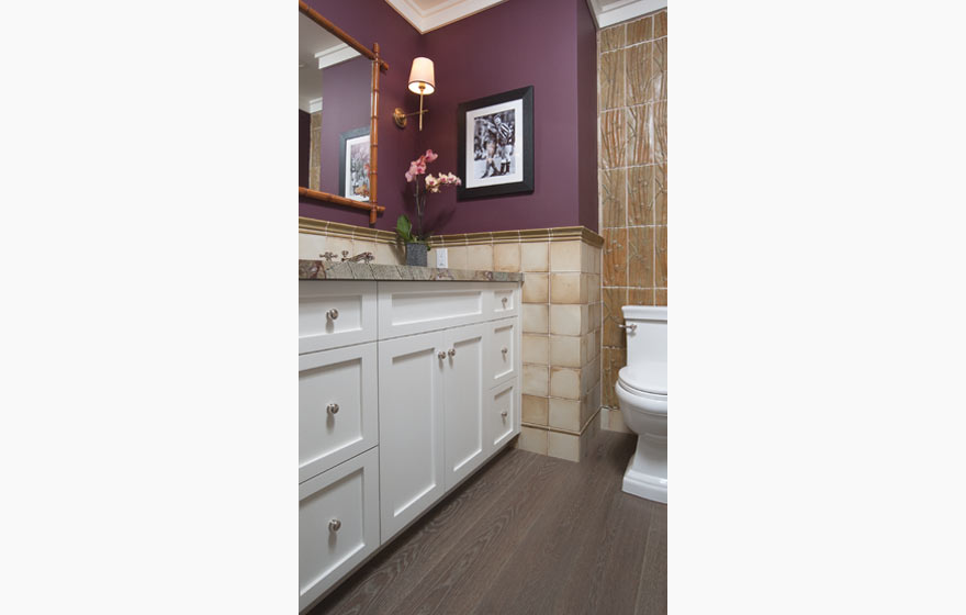"Painted Durango 3/4"" (834) Doors provide great contrast for a dramatic color palette in this compact powder room."