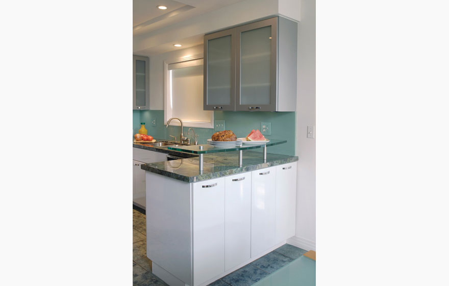 Dbq 3 4 816 kitchen in brushed aluminum deco form for Brushed aluminum kitchen cabinets
